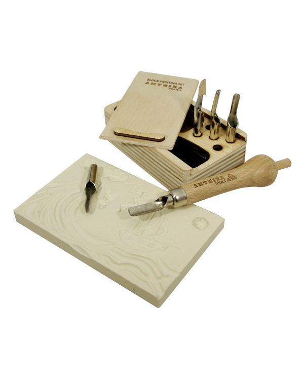 Block Printing Tool Set in Wooden Box - Arteina