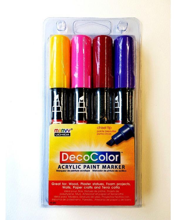 Marvy Uchida Decocolor acrylic paint marker set (4) Bright
