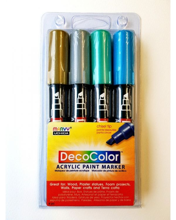 Marvy Uchida Decocolor acrylic paint marker set (4) Metallic