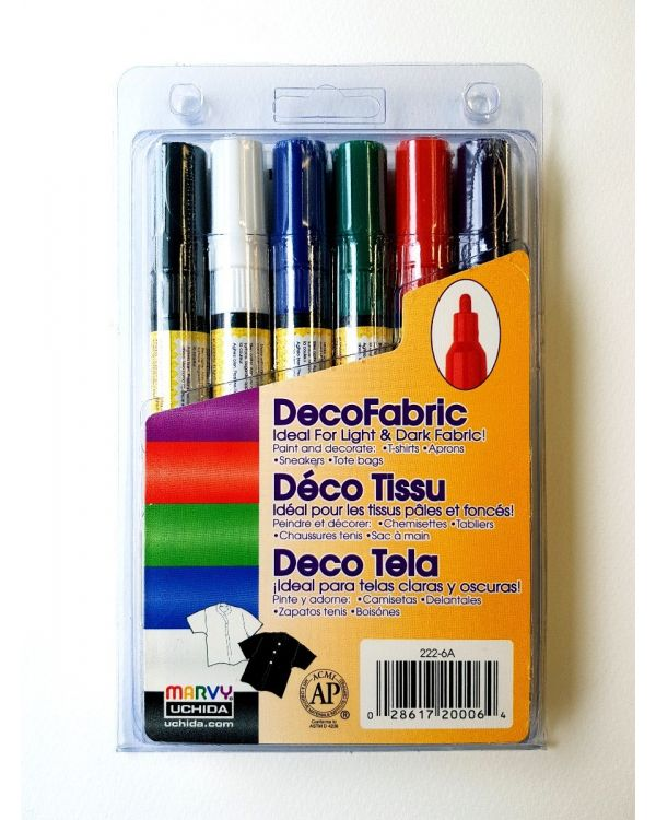 Marvy Uchida Decofabric marker set (6) Primary (222-6A)