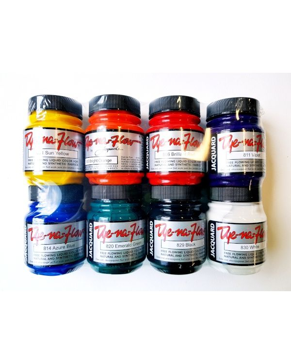 Dye Na Flow acrylic fabric paint 8 colour set 2.25oz jars  - Jacquard (JAC8000)