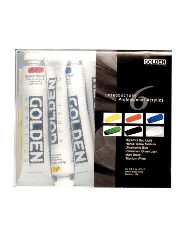Professional Set of Six 22ml Tubes - Golden Acrylic Sets