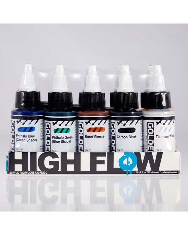 Assorted Colours Set x 10 - Golden High Flow Acrylic