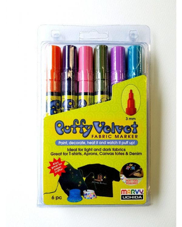 Marvy Uchida Puffy Velvet marker set (6) Bright